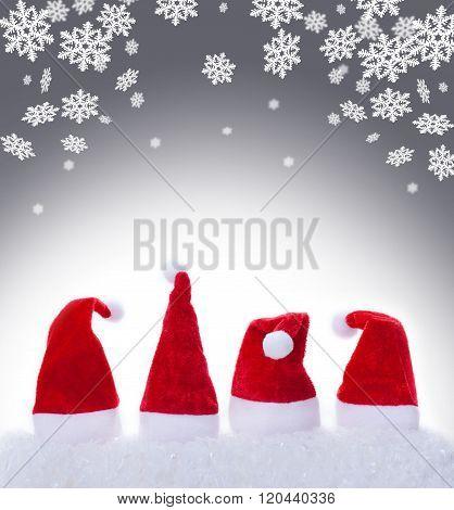 Christmas Hats, Santa Hats And Snowflakes