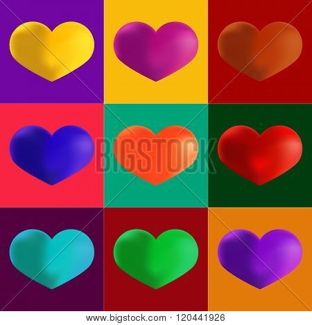 Hearts in different colours. Artistic Pop Art Style. Set of Colorful Icons the shapes of heart.