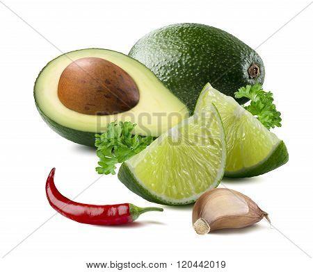 Avocado Lime Garlic Chili Guacamole Ingredients Isolated