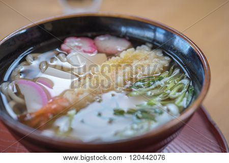 Closed Up Tempura Shrimp Udon, Japanese Food