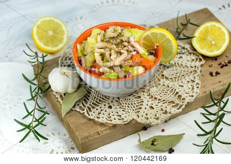 Salad with squid - homemade salad of squid