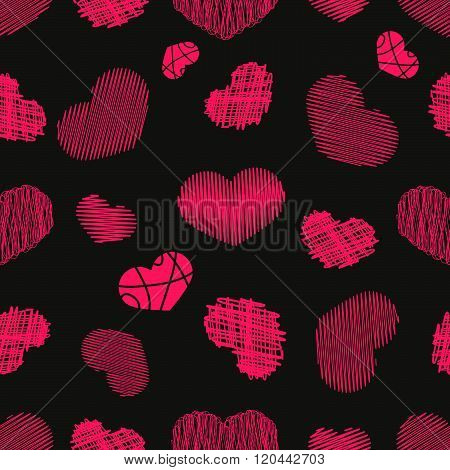 Seamless Pattern with Stylized hand-drawn Scribble Hearts. St. Valentine's Day or Weddings Design El