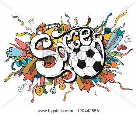 Doodle Colorful Soccer Composition With Sport Objects And White Lettering