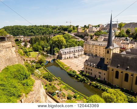 Neumuenster Abbey And Alzette River, Luxembourg City, Luxembourg