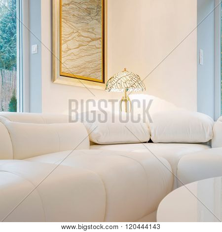 White couch inside interior