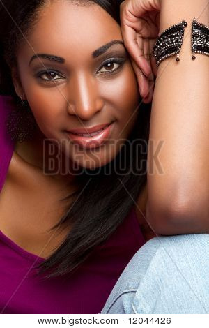 Beautiful happy black girl smiling