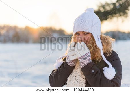 Girl Sipping Hot Coffie In A Cold Winter Day