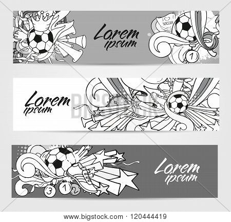 Doodle Grayscale Banners With Soccer Objects And Decoration Elements