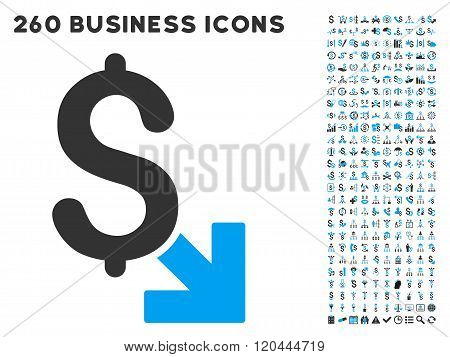 Dollar Decrease Icon with Flat Vector Set