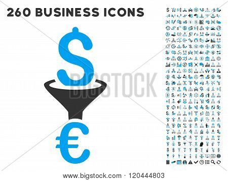 Dollar Euro Conversion Filter Icon with Flat Vector Set