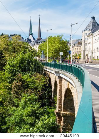 Luxembourg Cityscape And Passerelle Bridge - Luxembourg Viaduct