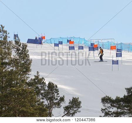 STOCKHOLM SWEDEN - FEB 23 2016: Slalom Hammarbybacken with colorful orange and blue gates at the FIS Alpine Ski World Cup - city event February 23 2016 Stockholm Sweden