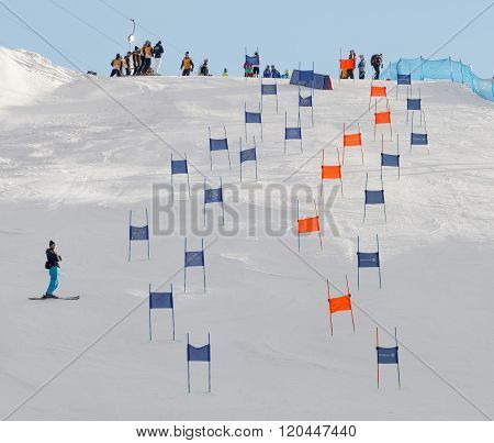 Slalom Slope With Colorful Orange And Blue Gates
