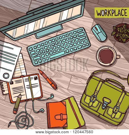 Hand drawn color illustration of workplace top view with work elements on wood texture