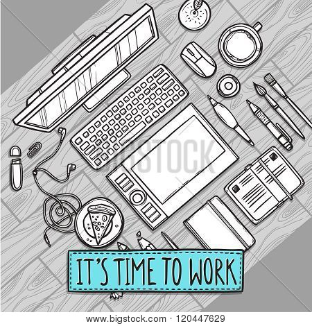 Hand drawn illustration of workplace top view with work elements on wood texture with quote