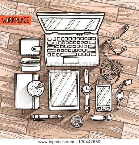 Hand drawn illustration of workplace top view with work elements on wood texture