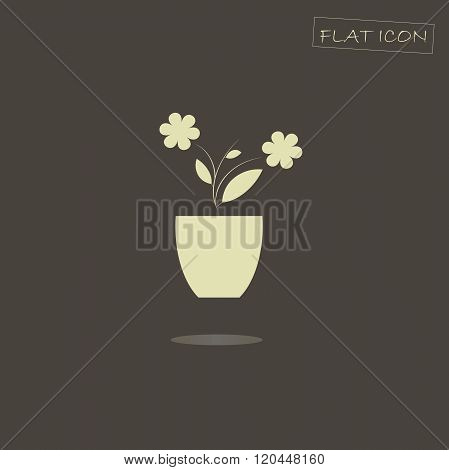 Flat icon of the blooming plant in pot. Blooming plant in pot on a dark background, shadow