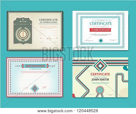Vector set of gift certificates. Great for certificates, diplomas, and awards. Certificate, Diploma