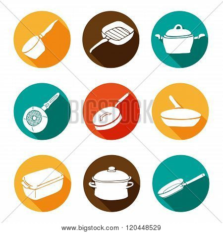 Colorful Kitchen Doodle Cookware Flat Icons Set With Shadow