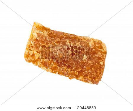 A Slice of Honeycomb isolated on white