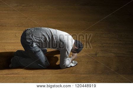 hopeless man alone on the floor