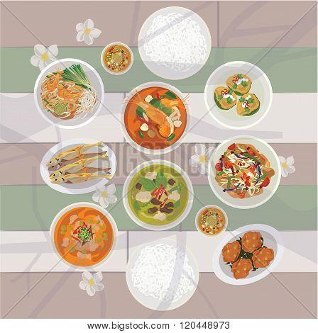 Thai food set on the table