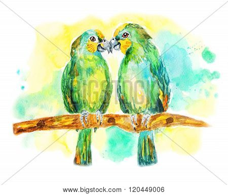Two green parrots. Lovebirds sitting on a branch