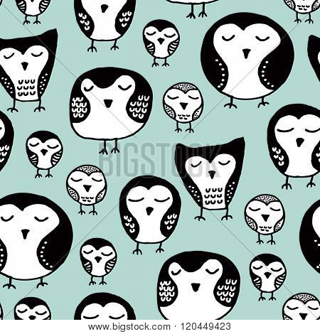 Seamless sleepy owl sweet dreams illustration birds in ink, kids background pattern in vector