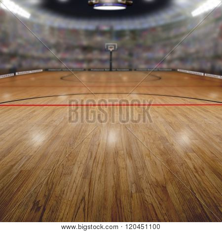 Basketball Arena With Copy Space Background
