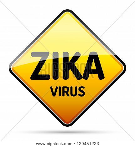 Zika Virus Warning Sign With Reflect And Shadow On White Background. Isolated Vector.