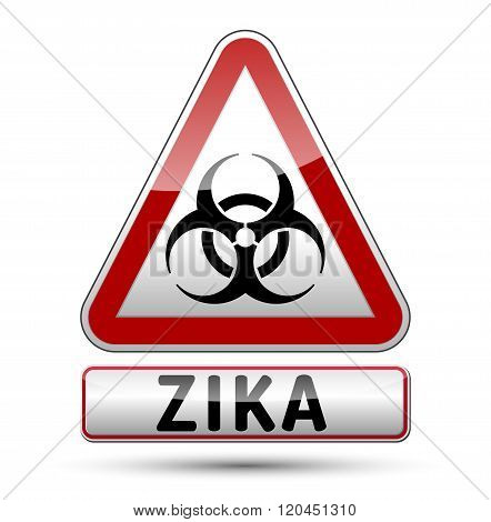 Zika Virus Danger Sign With Reflect And Shadow On White Background.