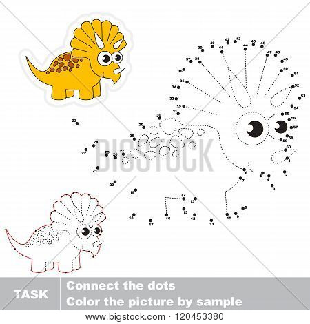 Triceratops in vector to be traced by numbers. Vector visual game for children.