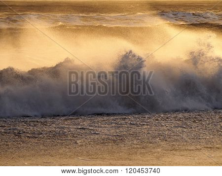 Waves in windy weather