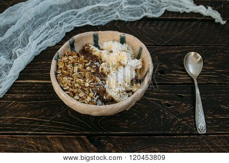 Granola In A Clay Bowl