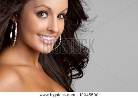Beautiful brown eyes smiling woman