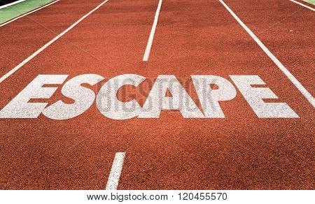 Escape written on running track