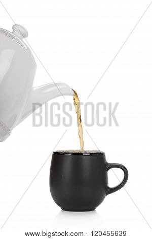 Pouring Tea Into A Cup Isolated On White