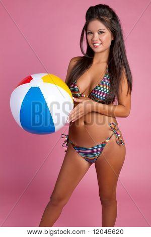 Asian beach ball bikini girl