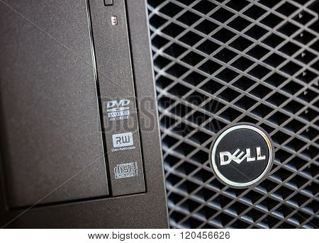 Dell Computer Logo on Powerful Workstation