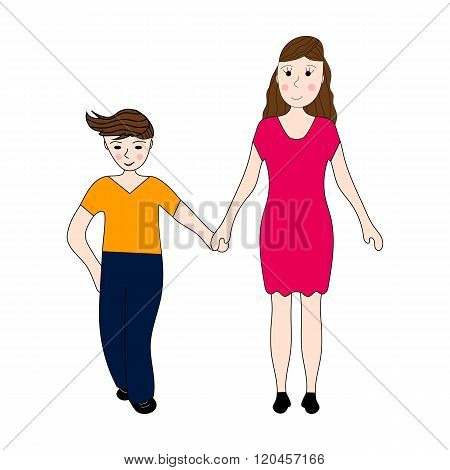 Mother Keeps hold Of The Teenager Arm