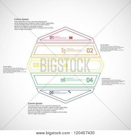 Octagon Illustration Infographic From Five Color Parts Created By Outlines
