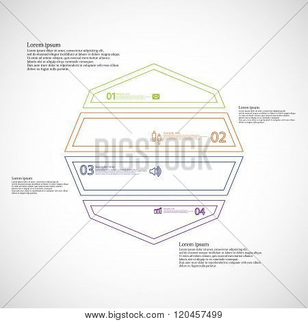 Octagon Illustration Infographic From Four Color Parts Created By Outlines