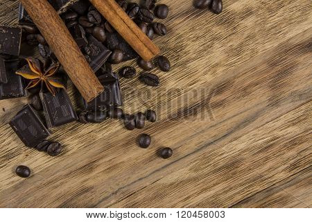 chocolate with cinnamon and caffe beans