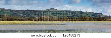 Panoramic View Of Kelston Round Hill, With Flooded Farmland.
