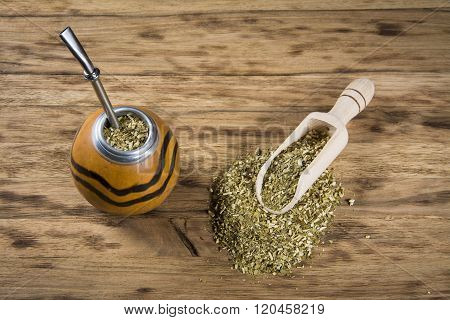 yerba mate cup on wooden table