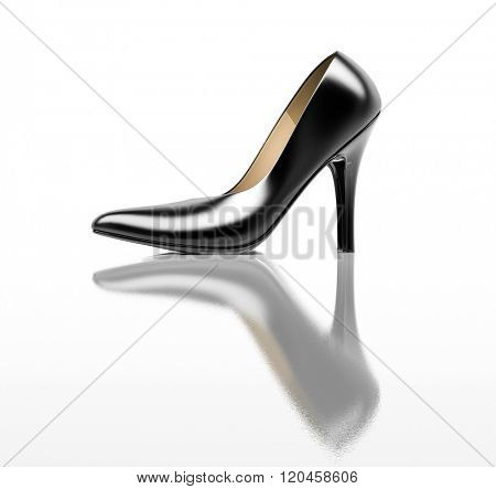 Close up of a black high heels on white background