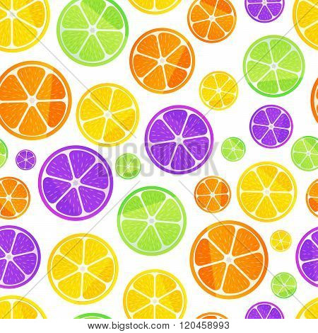 Juicy fruit slices on white, seamless pattern