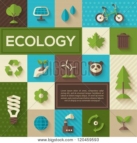 Flat concept icons of ecology