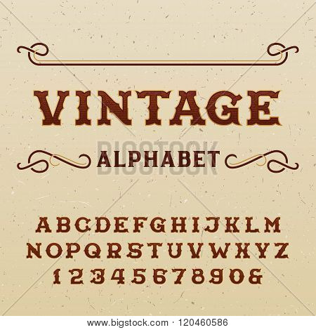 Vintage alphabet vector font in western style.