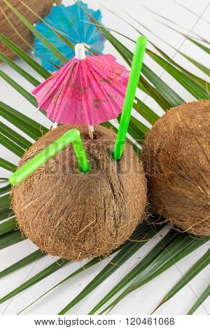 Fresh Coconut Cocktail For The Summer